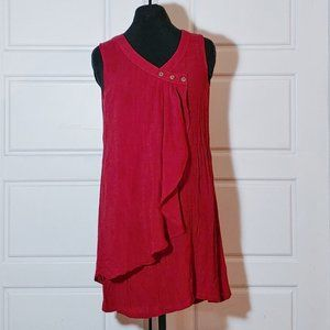 Nice red sleeveless 50% silk tunic blouse
